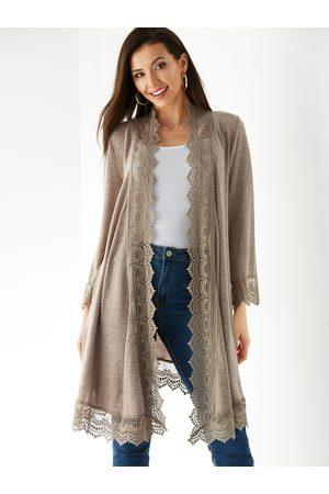 YOINS Coffee Crochet Lace Embellished Long Sleeves Kimono