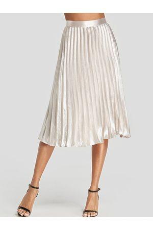 YOINS Pleated Design Midi Skirt