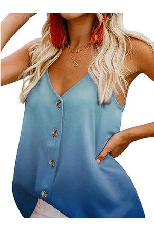 YOINS Ombre Button Front V-neck Sleeveless Cami