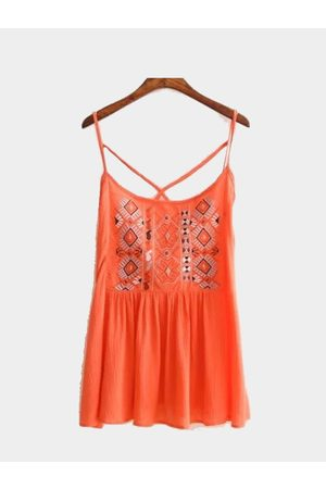 YOINS Bohemia Style Sleeveless Top with Embroidery Pattern
