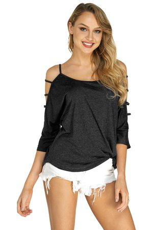 YOINS Cold Shoulder T-shirt with Strappy Detail