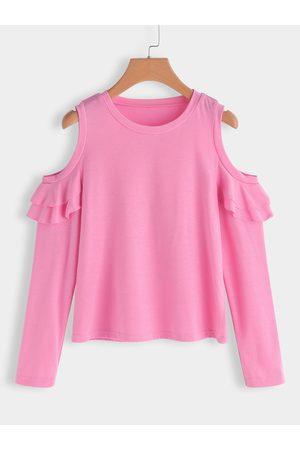 YOINS Flounced Details Plain Round Neck Long Sleeves T-shirts