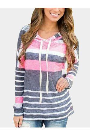 YOINS Fashion Rondom Striped Long Sleeves Loose Hoodie