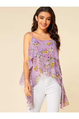 YOINS Double Layer Floral Print Scoop Neck Cami