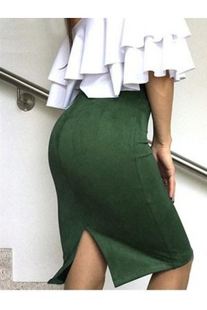 YOINS Christmas Suede Slit Design High-Waisted Skirt