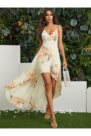 YOINS Random Floral Print Backless Design Halter Dress with High-low Hem