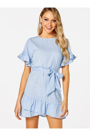 YOINS Belt Design Stripe Round Neck Short Sleeves Flounced Hem Dress