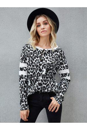 YOINS Leopard Patch Stripe Raglan Long Sleeves Tee