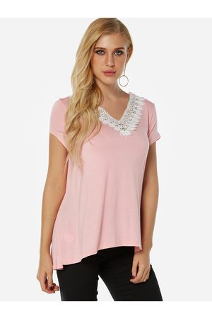 YOINS Pink Lace Trim Plain V-neck Short Sleeves Tee
