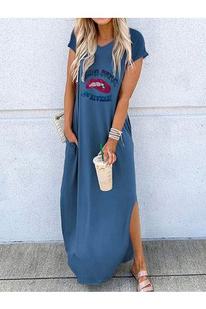 YOINS Casual Graphic Round Neck Short Sleeves Maxi Dress