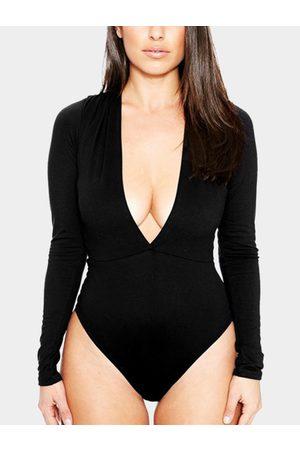 YOINS Women Long Sleeve - Sexy Bodycon V-neck Long Sleeves Bodysuit