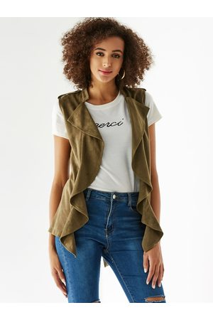YOINS Suede Open Front Ruffle Trim Sleeveless Jacket