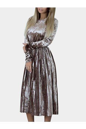 YOINS Apricot Gold Velvet Ruffle Hem Maxi Dresses with Belt