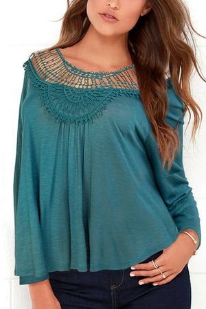 YOINS Invisible Loose Hollow Out Round Neck Blouse