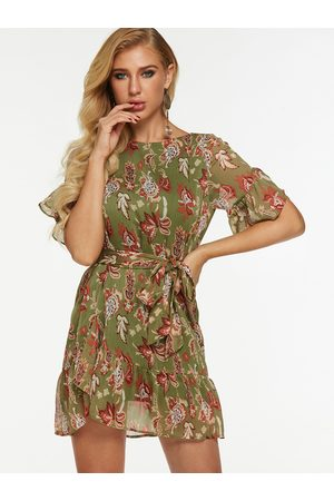 YOINS Green Random Floral Mini Dress With Half Flared Sleeves