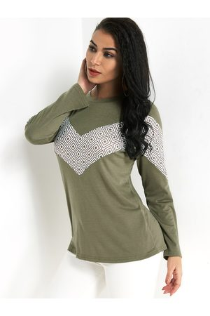 YOINS Army Green Color Block Round Neck Long Sleeves T-shrit