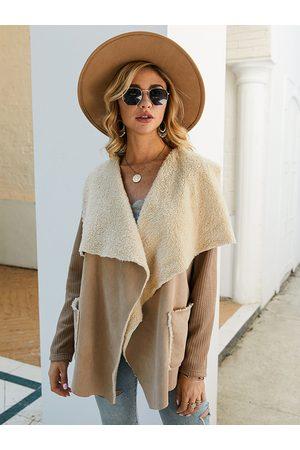 YOINS Fleece Side Pockets Lapel Collar Long Sleeves Coat