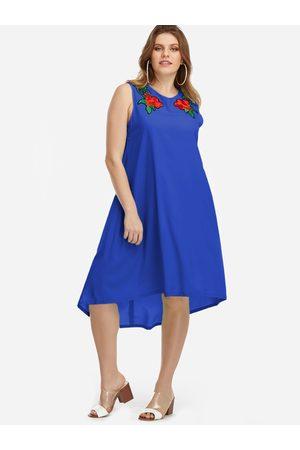 YOINS Plus Size Embroidery High-low Hem Dress