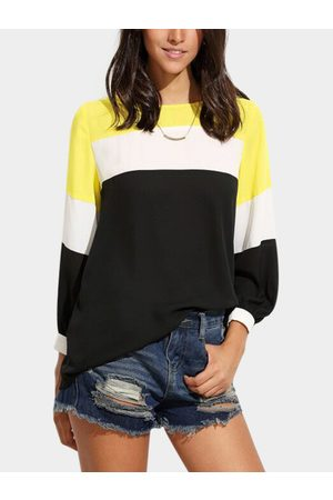 YOINS Yellow Fantasy Color Chiffon Top