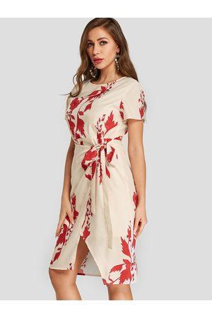 YOINS Apricot Random Floral Print Self-tie Design Short Sleeves Dress