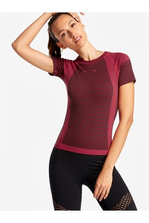 YOINS Women T-shirts - Stripe Details Letter Print Crew Neck Short Sleeves Sport T-shirt