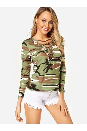 YOINS Fashion Army Camouflage V-neck Long Sleeves T-shirts