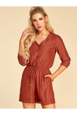 YOINS Women Long Sleeve - Button Design V-neck Long Sleeves Drawstring Waist Playsuit
