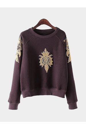 YOINS Women Jumpers - Dark-red Pullover Gold Color Embroidery Pattern Sweatshirt