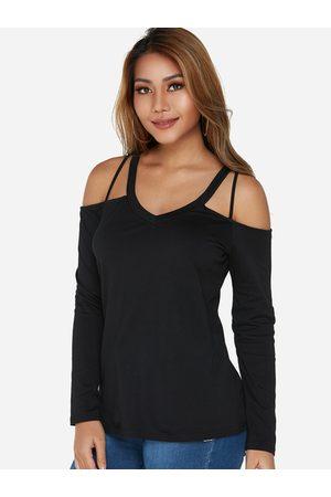 YOINS V-neck Cold Shoulder Long Sleeves T-shirt in
