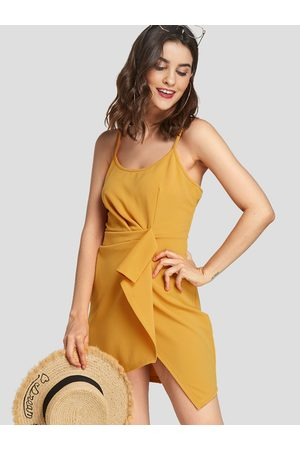 YOINS Scoop Neck Sleeveless Irregular Hem Mini Dress