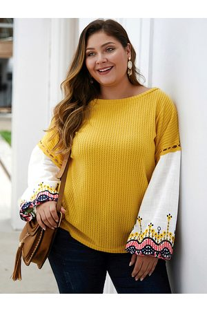YOINS Women Jumpers - Plus Size Patchwork Embroidered Round Neck Sweater