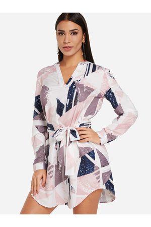 YOINS Women Printed Dresses - V Neck Lace-up Fashion Geometrial Printed Dress