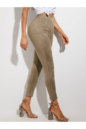 YOINS Women Leather Pants - Camel Suede Zip Design High-Waisted Pants