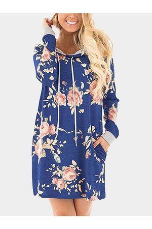 YOINS Royal Random Floral Print Hoodie Long Sleeves Mini Dress