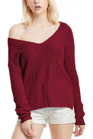 YOINS Crossed Back Design V-neck Long Sleeves Cable Knitted Sweater