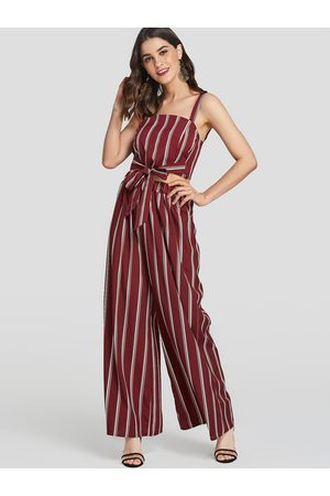 YOINS Stripe Knotted Square Neck Top & Wide Leg Trousers Two Piece Outfits