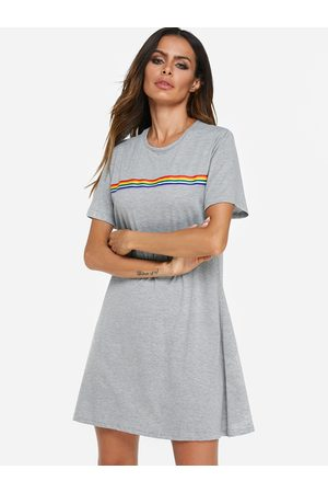YOINS Round Neck Short Sleeves A-line Casual Dress