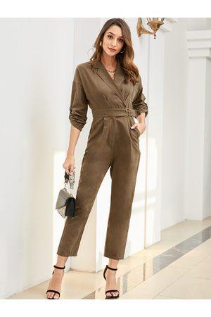 YOINS Green Belt Wrap Design Lapel Collar Long Sleeves Jumpsuit