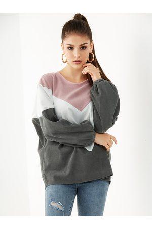 YOINS Color Block Round Neck Corduroy Sweatshirt