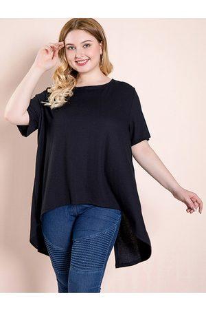 YOINS Plus Size Black Slit Design Round Neck Short Sleeves Tee