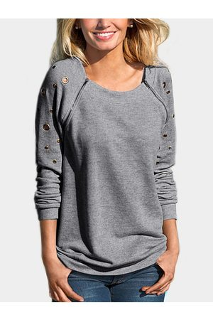 YOINS Zipper Design Hollow Round Neck Long Sleeves Sweatshirt