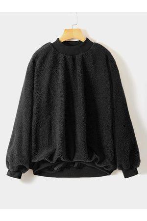 YOINS Plus Size Fleece Round Neck Sweatshirt