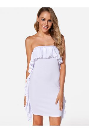 YOINS Fold Over Flounced Details Strapless Party Dresses