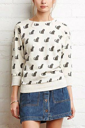 YOINS Cat Print Sweatshirt in White