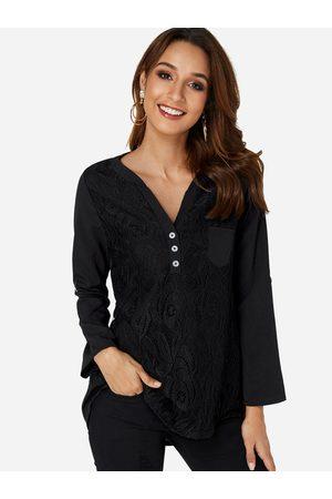 YOINS Lace Insert V-neck Long Sleeves T-shirt