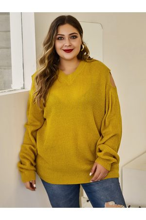 YOINS Plus Size Yellow V-neck Long Sleeves Sweater