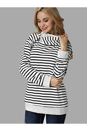 YOINS Stripe Pattern Zipper Details Two Layers Hoodie
