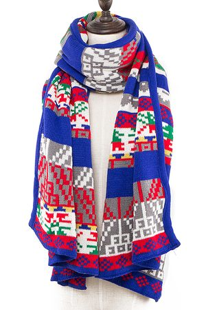 YOINS Geo-Tribal Pattern Wrap Scarf In Knit