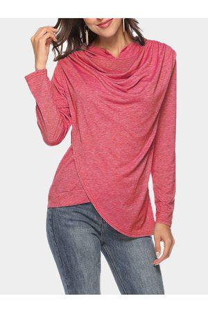 YOINS Drape Sagging Long Sleeves Top With Irregular Hem
