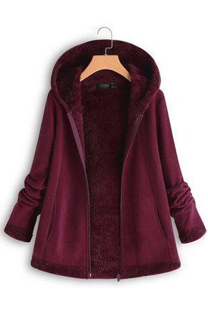 YOINS Fleece Zip Front Long Sleeves Hooded Coat